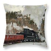 Winter Crossbuck Crossing Throw Pillow