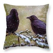 Winter Crows Throw Pillow