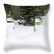 Winter Dance Of The Snow People Throw Pillow