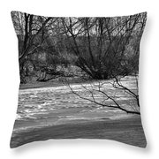 winter day BW-Black and white presentation of Snow on a frozen creek south  Throw Pillow