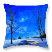 Winter Day On Canvas Throw Pillow