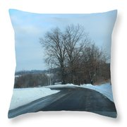 Winter Drive In The Country Throw Pillow