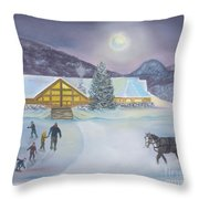 Winter Evening At Evergreen Lakehouse Throw Pillow