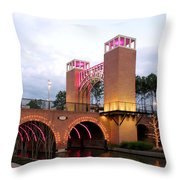 Winter Evening Lights On The Woodlands Waterway Throw Pillow