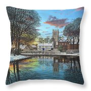 Winter Evening Tickhill Yorkshire Throw Pillow