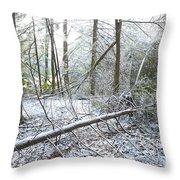 Winter Fallen Tree Throw Pillow