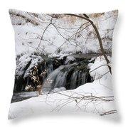 Winter Falls On Big Stone Lake Mn Throw Pillow