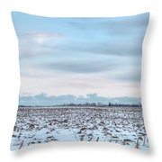 Winter Farm Field Throw Pillow