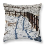Winter Fence Throw Pillow