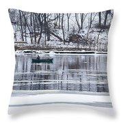 Winter Fishing - Wisconsin River Throw Pillow