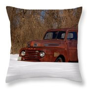 Winter Ford Truck 3 Throw Pillow