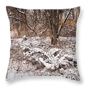 Winter Forest Panorama Throw Pillow