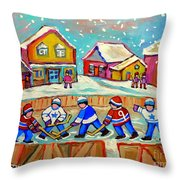 Winter Fun At Hockey Rink Magical Montreal Memories Rink Hockey Our National Pastime Falling Snow   Throw Pillow