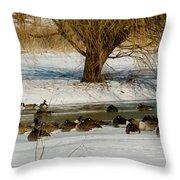 Winter Geese - 01 Throw Pillow