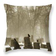 Winter Graveyard Crows Throw Pillow