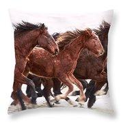 Winter Hardened Wild Horses Throw Pillow
