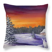 Winter Hare Visit Throw Pillow