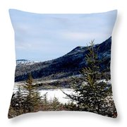 Winter Has Arrived In The Valley Throw Pillow