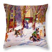 Winter High Bridge Park Throw Pillow