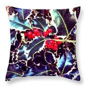 Winter Holly Throw Pillow