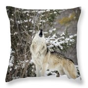 Winter Howl Throw Pillow
