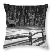 Winter Hut In Black And White Throw Pillow