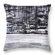 Winter Ice Lake Scene Hopatcong Covered Port Throw Pillow