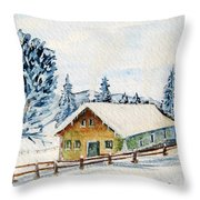 Winter Idyll With Text Throw Pillow