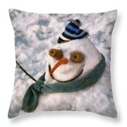 Winter - I'm Ready For My Closeup Throw Pillow by Mike Savad