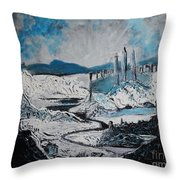 Winter In Ancient Ruins Throw Pillow