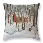 Winter In Campton New Hampshire Throw Pillow