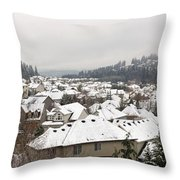Winter In Residential Suburban City Throw Pillow