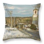 Winter In Round Pond Maine Throw Pillow