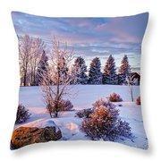 Winter In Pink Color Throw Pillow