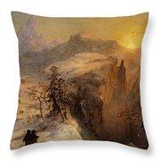Winter In Switzerland Throw Pillow by Jasper Francis Cropsey