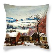 Winter In The Country Folk Art Throw Pillow