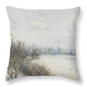 Winter In The Ouse Valley Throw Pillow