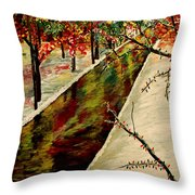 Winter In The Park  Throw Pillow by Mark Moore