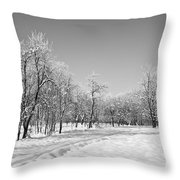 Winter Landscape In Bw Throw Pillow