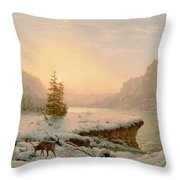 Winter Landscape Throw Pillow by Mortimer L Smith