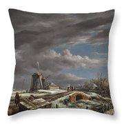 Winter Landscape With Figures On A Path Throw Pillow