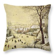 Winter Landscape With Skaters And A Bird Trap Throw Pillow