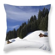 Winter Landscape With Trees And Houses In Austria Throw Pillow