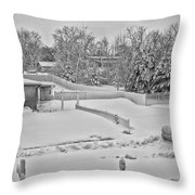 Winter Lines Black And White Throw Pillow