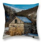Winter Logcabin Throw Pillow