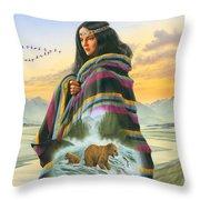 Winter Maiden Throw Pillow