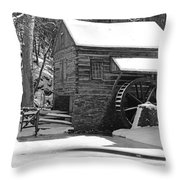 Winter Mill In Black And White Throw Pillow
