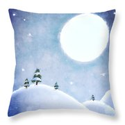 Winter Moon Over Snowy Landscape Throw Pillow