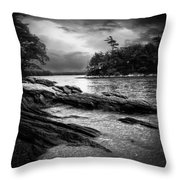 Winter Moonlight Wolfes Neck Woods Maine Throw Pillow by Bob Orsillo