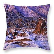 Winter Morning Alabama Hills And Eastern Sierras Throw Pillow